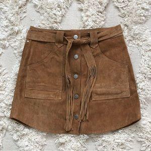Blank denim suede mini skirt